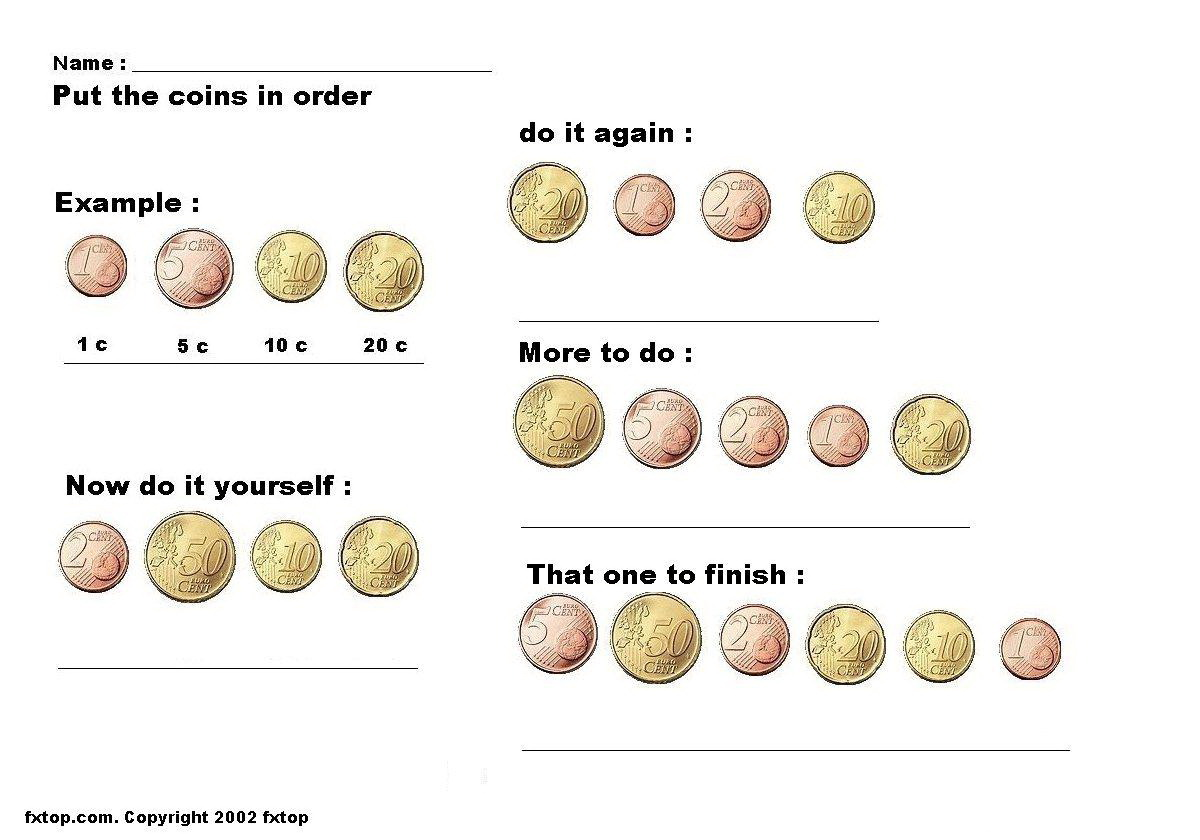 Coin Names And Values Worksheet