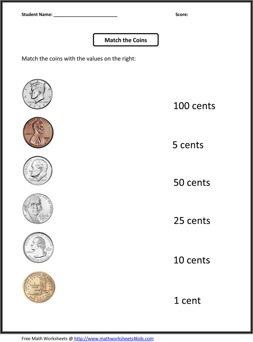 Coin Values Worksheets Grade 2