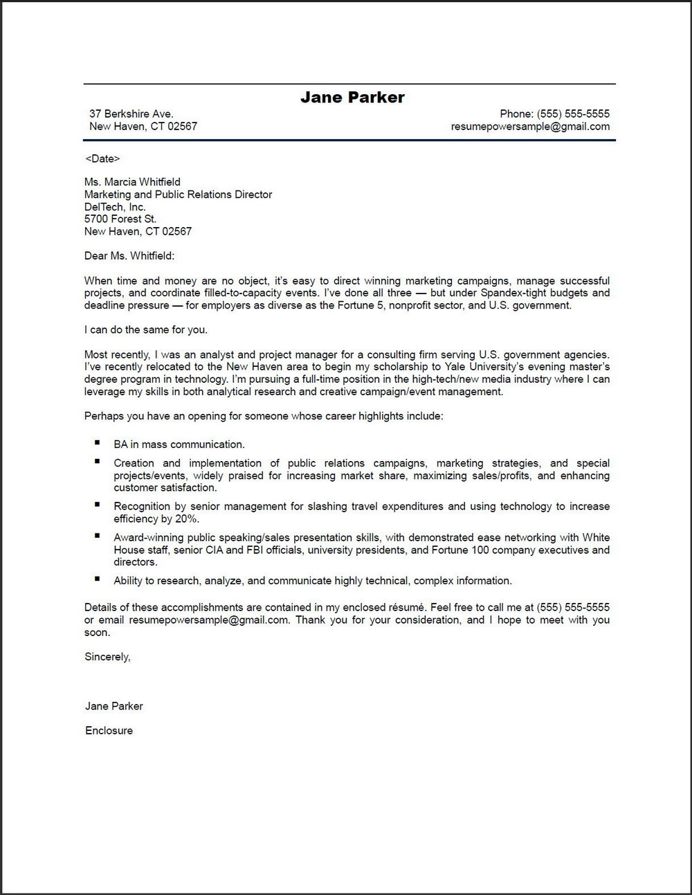 Cover Letter Example For Resume Free