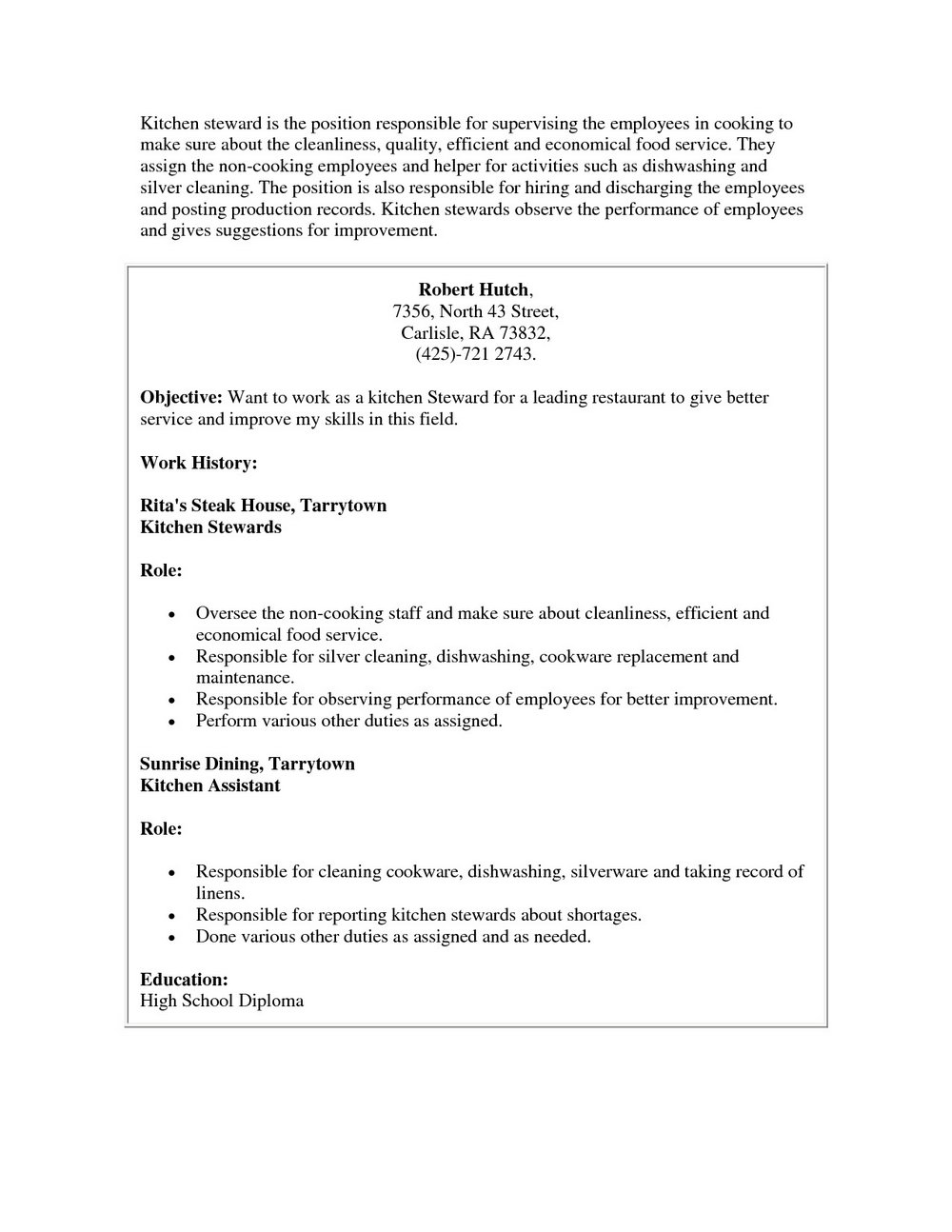 sample cover letter for kitchen helper no experience