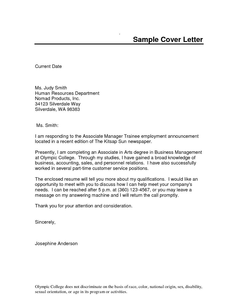 Cover Letter Sample For Resume Pdf
