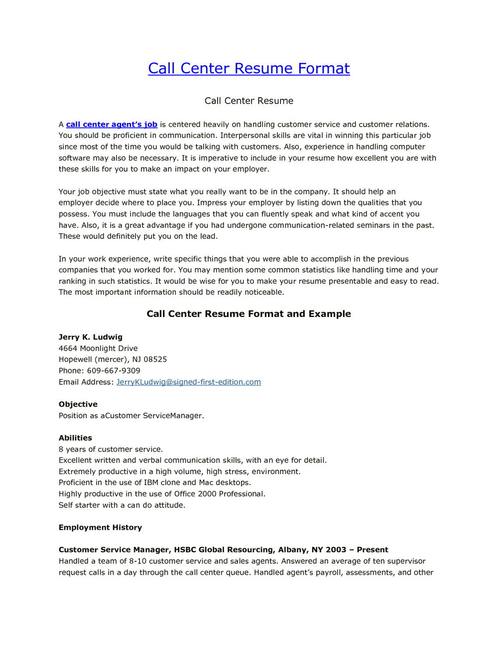 Customer Service Call Center Cover Letter Template