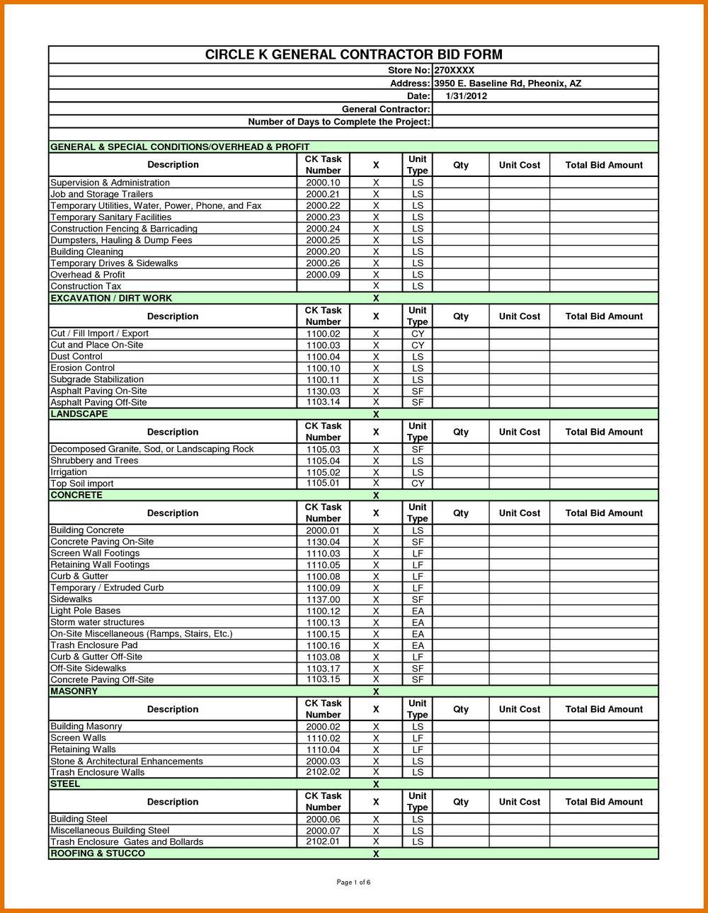 Excel Construction Estimate Worksheet