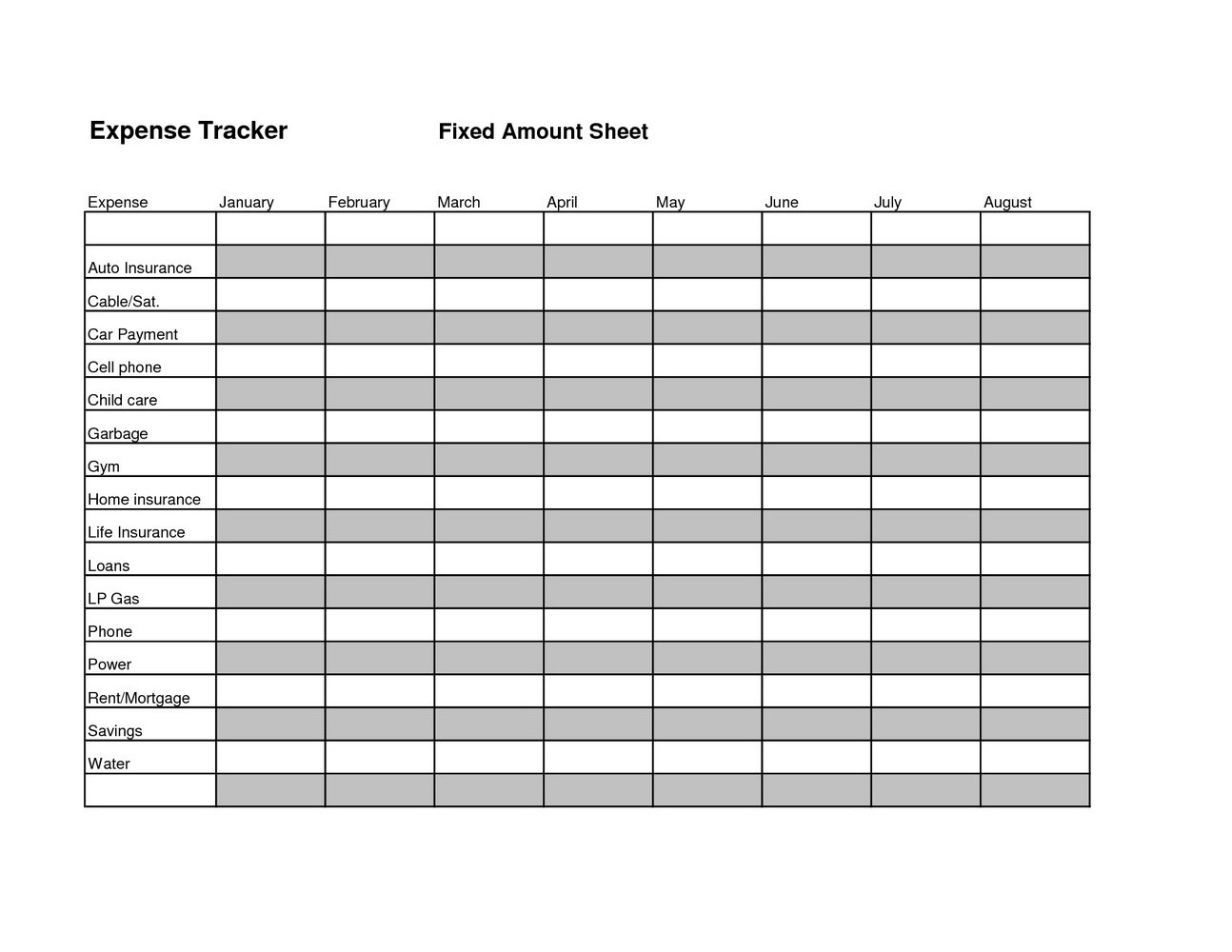 Expense Tracking Spreadsheet Numbers