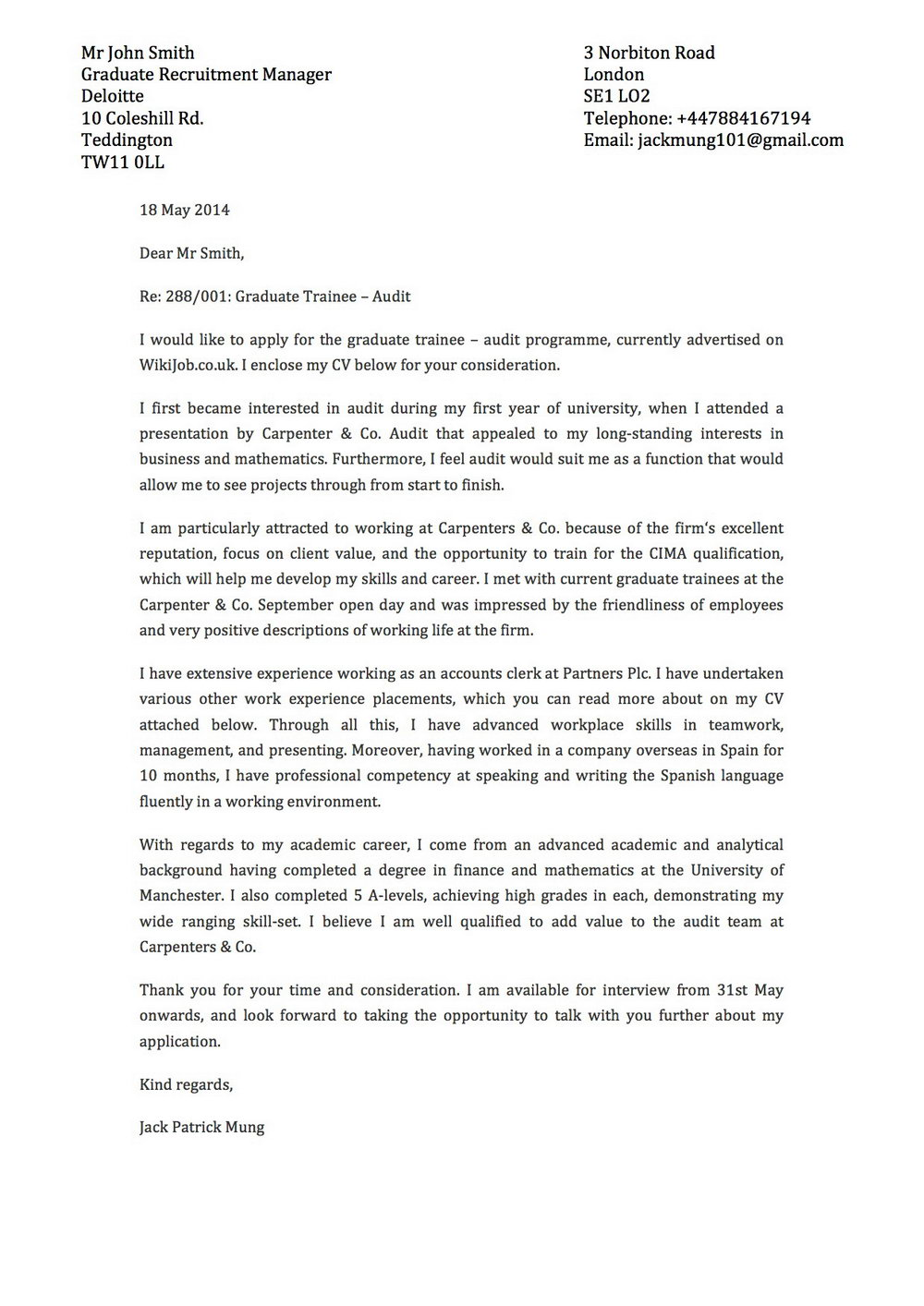 Free Cover Letter Sample Templates