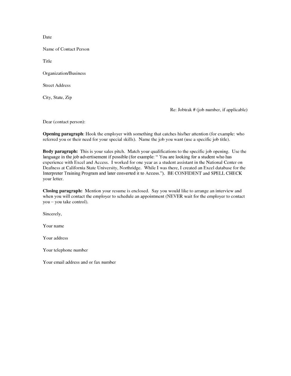 Free Cover Letter Samples