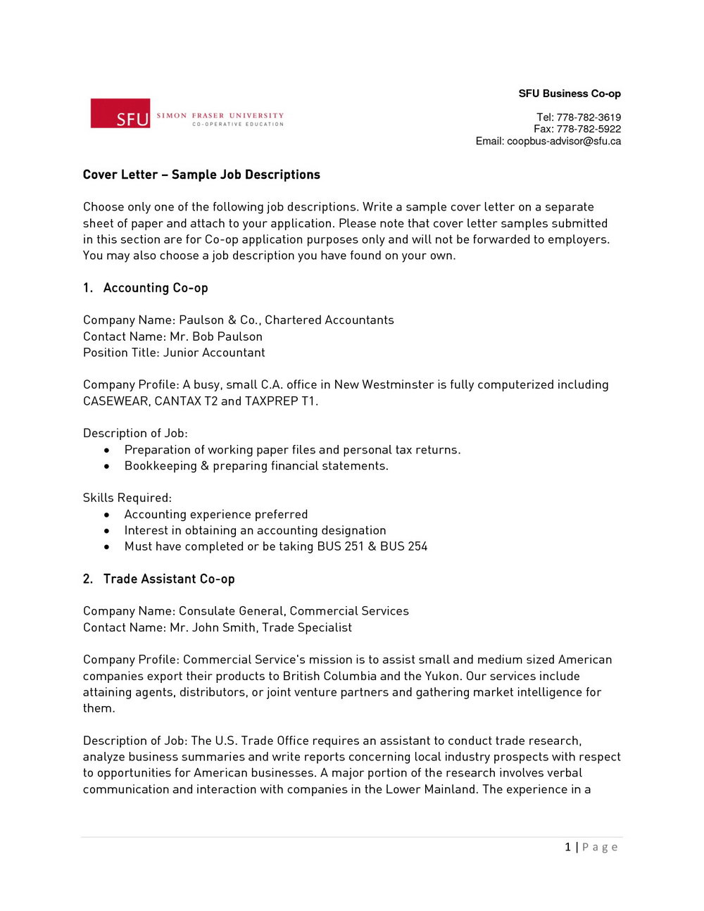 Free Cover Letter Templates Canada