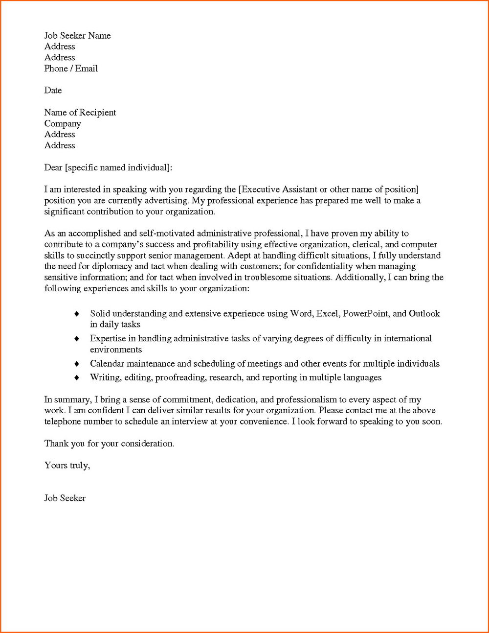 Free Cover Letter Templates Doc