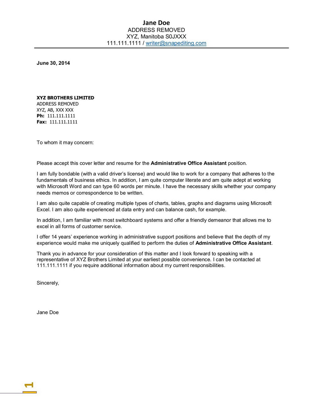 Free Cover Letter Templates For Administrative Assistant
