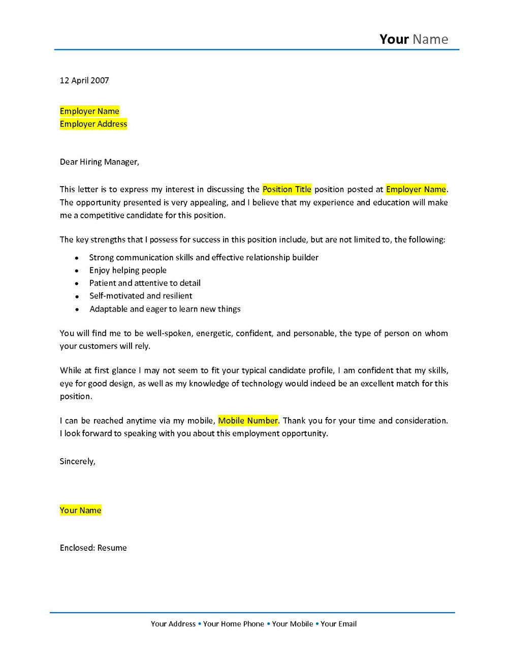 Free Cover Letter Templates For Career Change