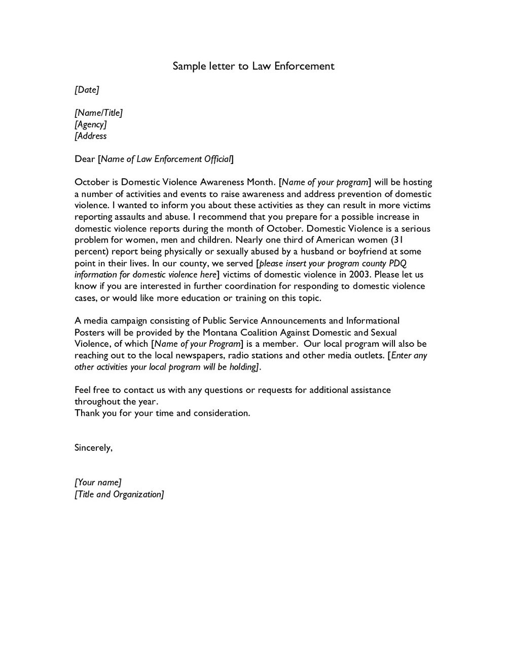 Free Cover Letter Templates For Law Enforcement