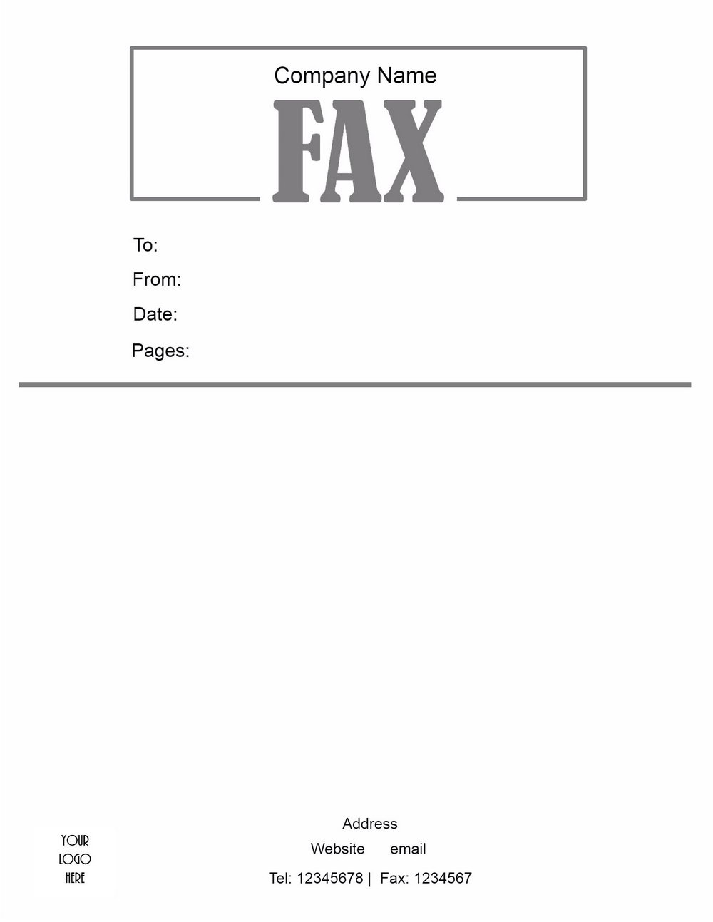 Free Template Fax Cover Sheet Microsoft Word