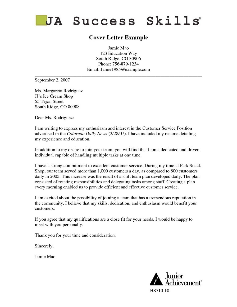 Good Cover Letter Examples For Resumes Pdf