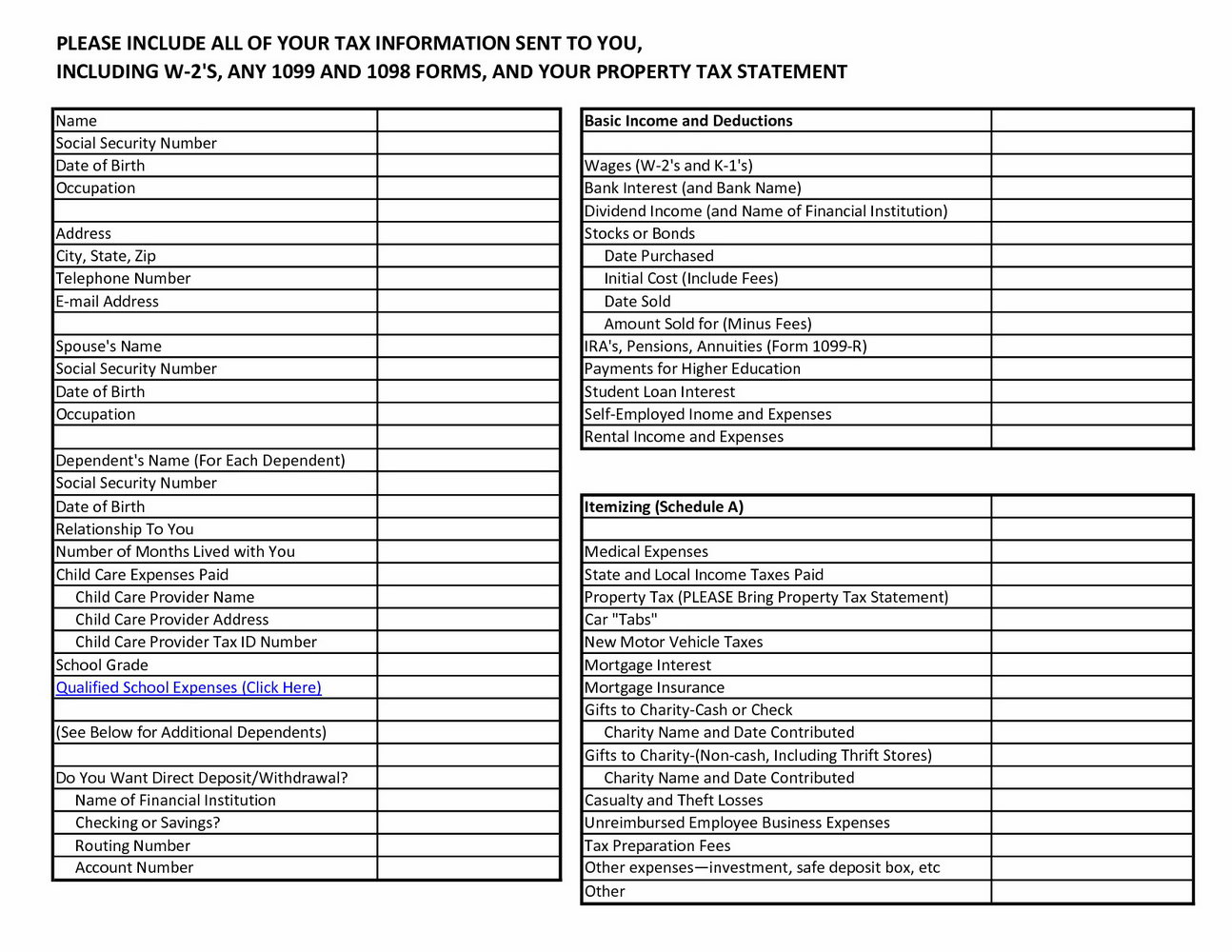 Income Tax Preparation Worksheet 2018