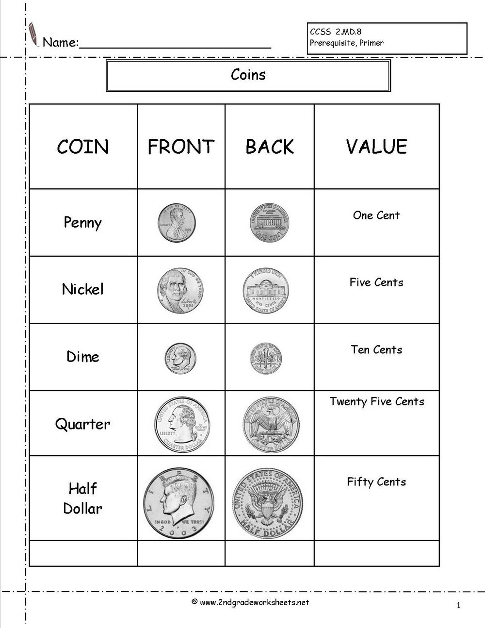 Matching Coin Values Worksheets