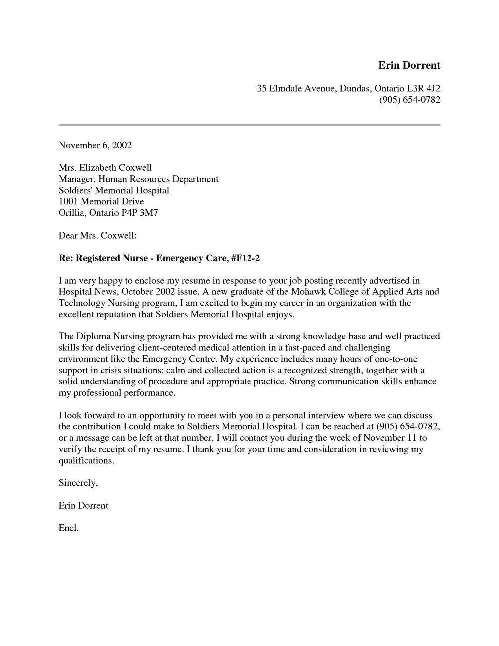 New Nurse Cover Letter For Resume