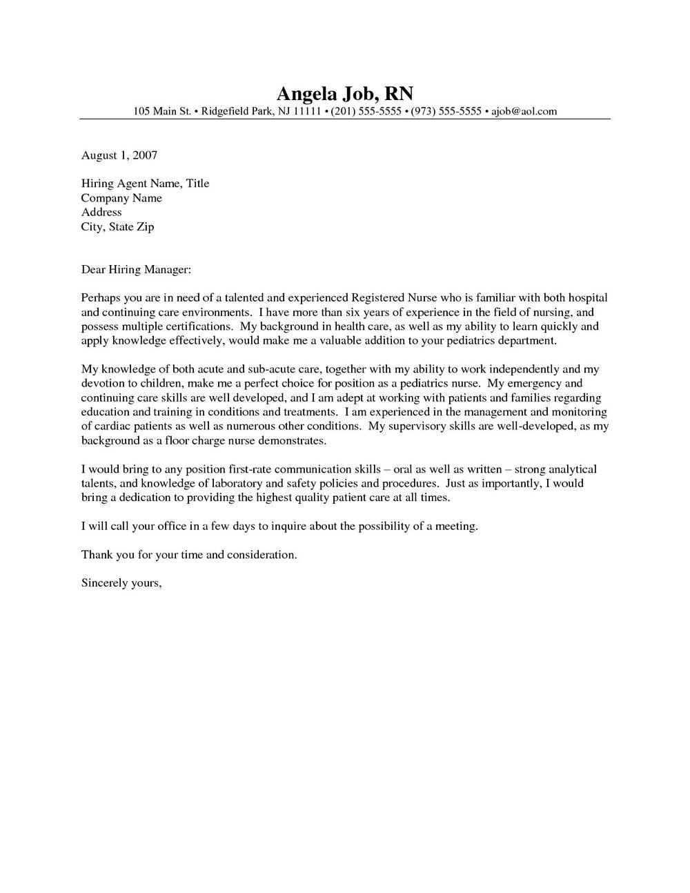 Nursing Assistant Cover Letter Templates