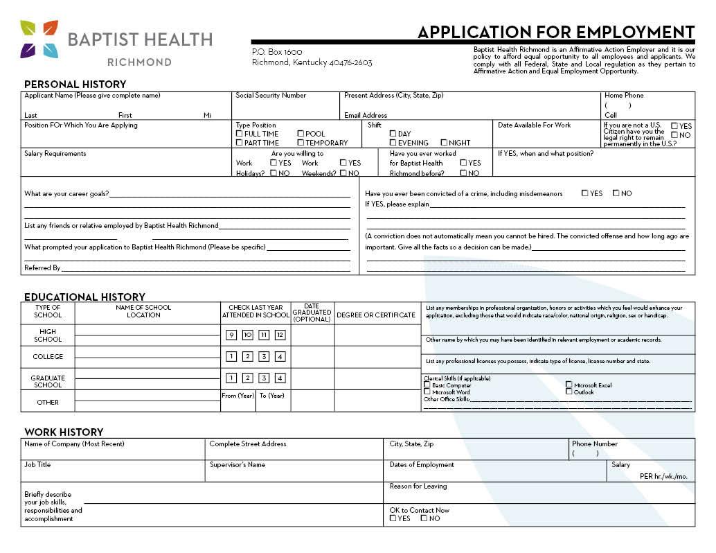 Nursing Job Application Sample
