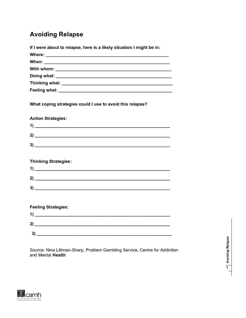 Relationships And Addiction Recovery Worksheets