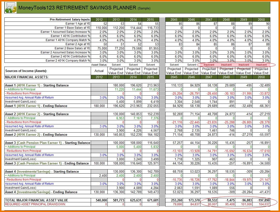Retirement Planning Worksheet Excel