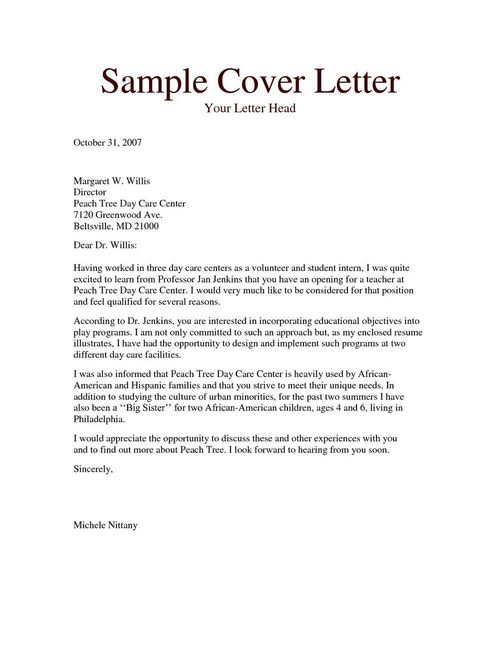 Sample Cover Letter For Child Care Teacher Assistant