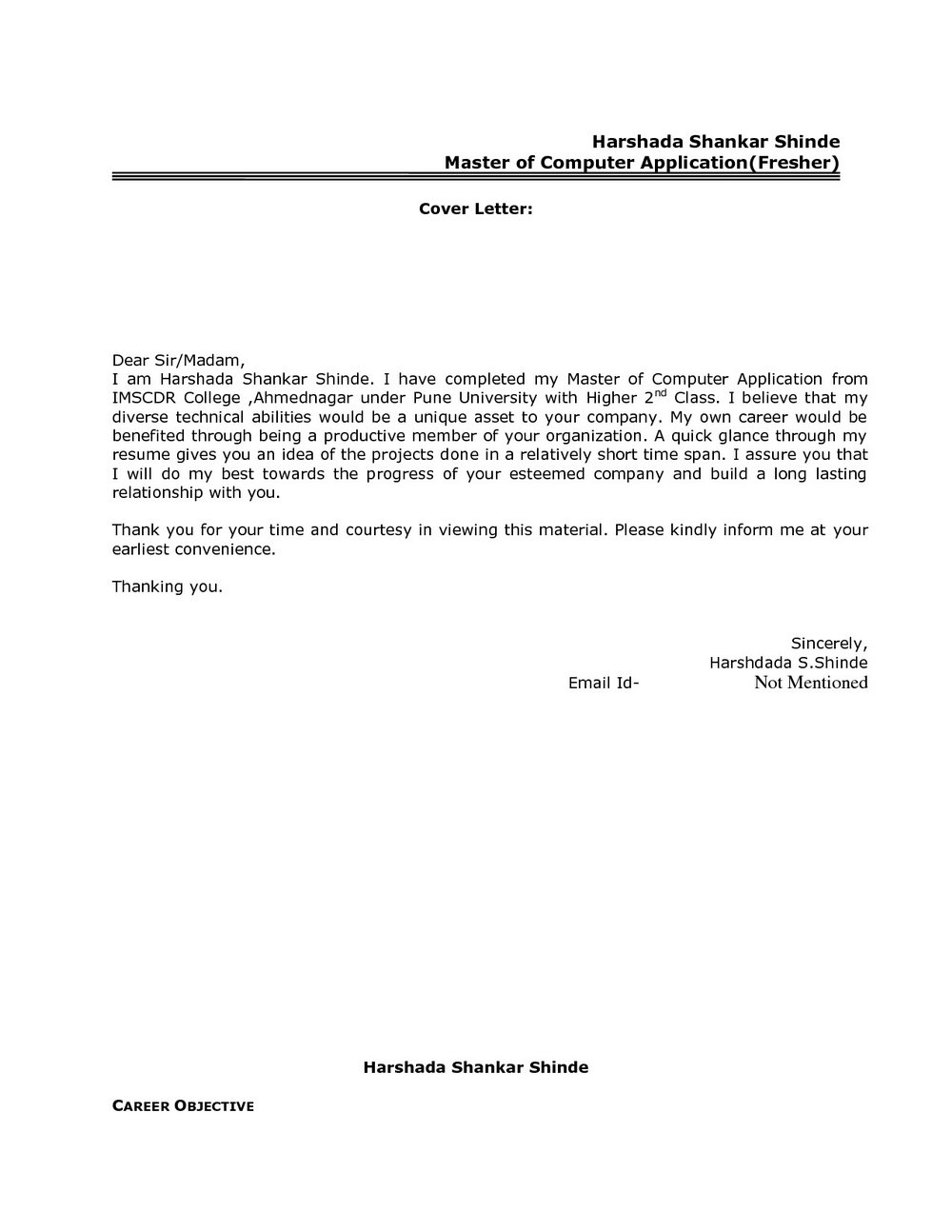 Sample Cover Letter For Freshers Pdf Free Download