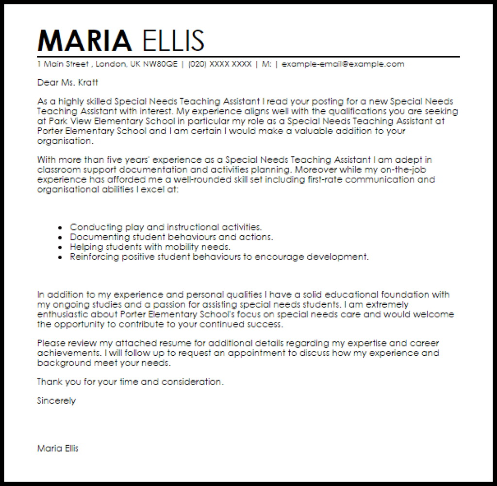 Sample Cover Letter For Special Education Teacher Assistant