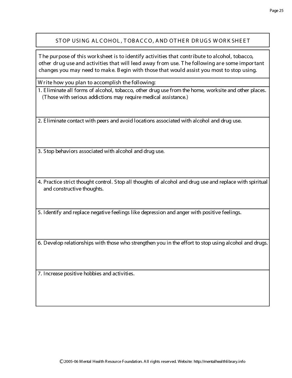 Substance Abuse Worksheets Pinterest