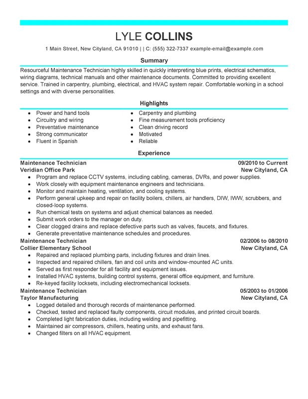 Building Maintenance Technician Resume Examples