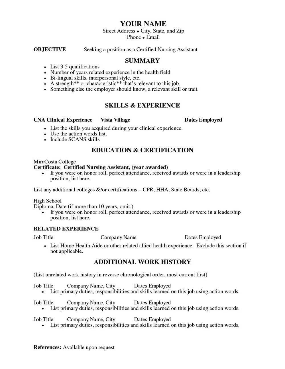 Certified Nursing Assistant Resume Templates