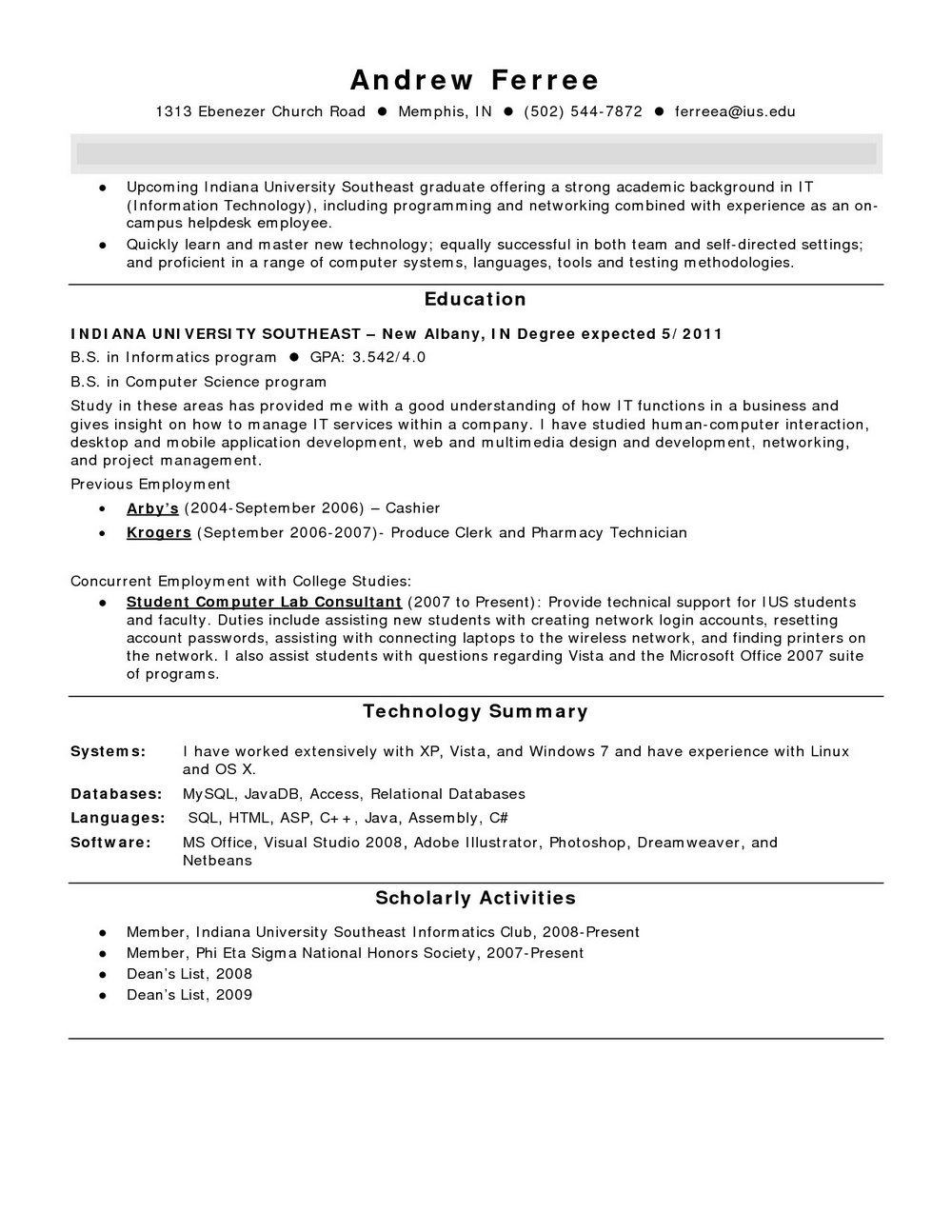 Example Of Entry Level Pharmacy Technician Resume