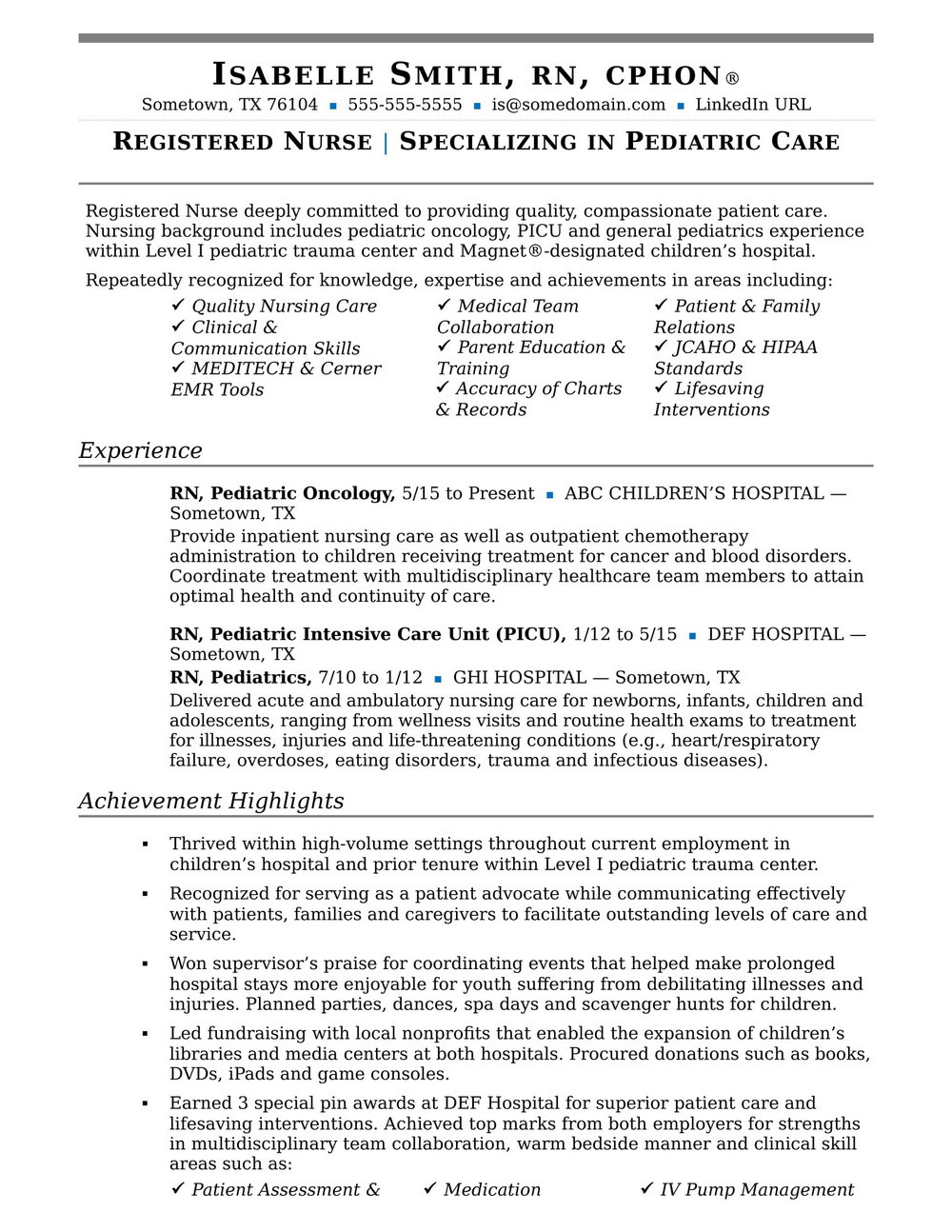 Examples Of Resumes For Experienced Nurses
