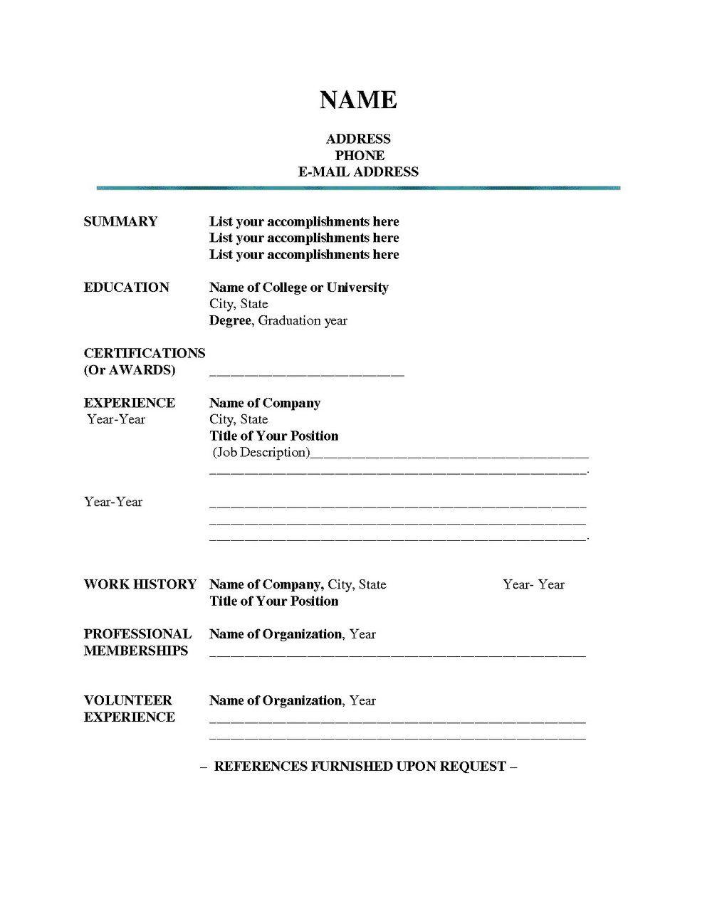 Free Blank Resume Templates To Print