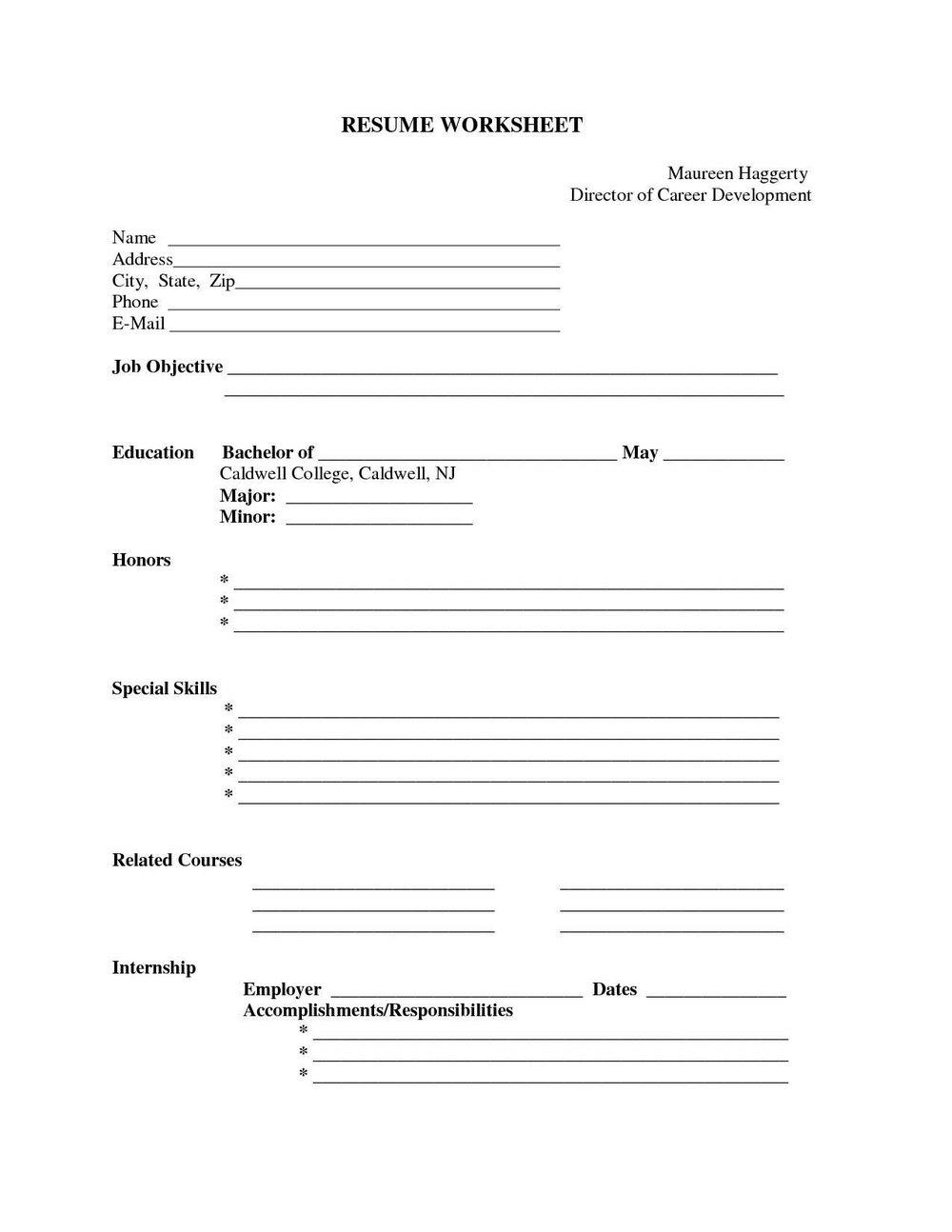 Free Blank Resumes To Print