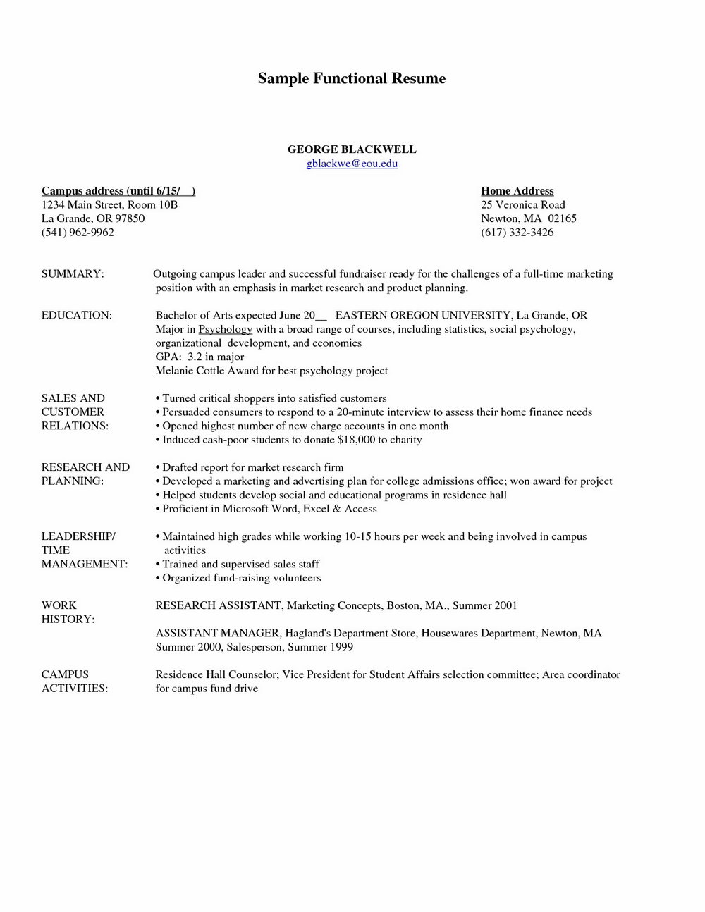 Free Functional Resume Template 2017