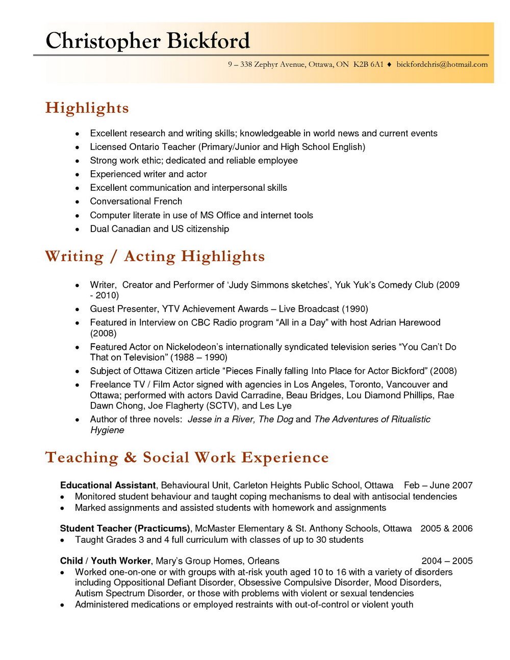 Free Professional Teacher Resume Templates