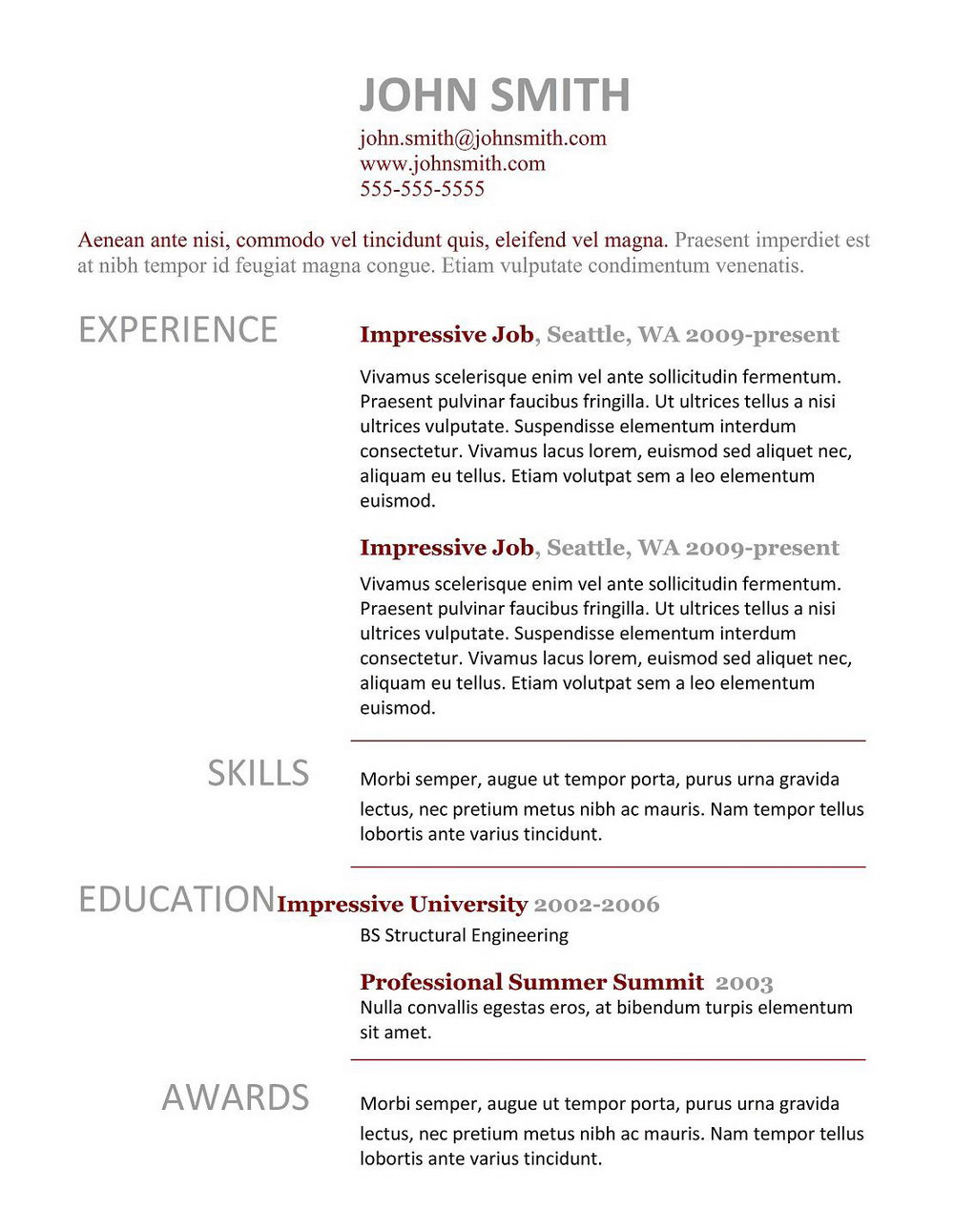 Free Resume Templates Download Pinterest