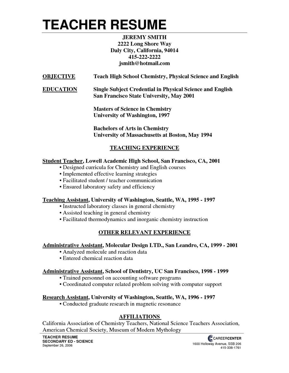 Free Resume Templates For Teaching Positions