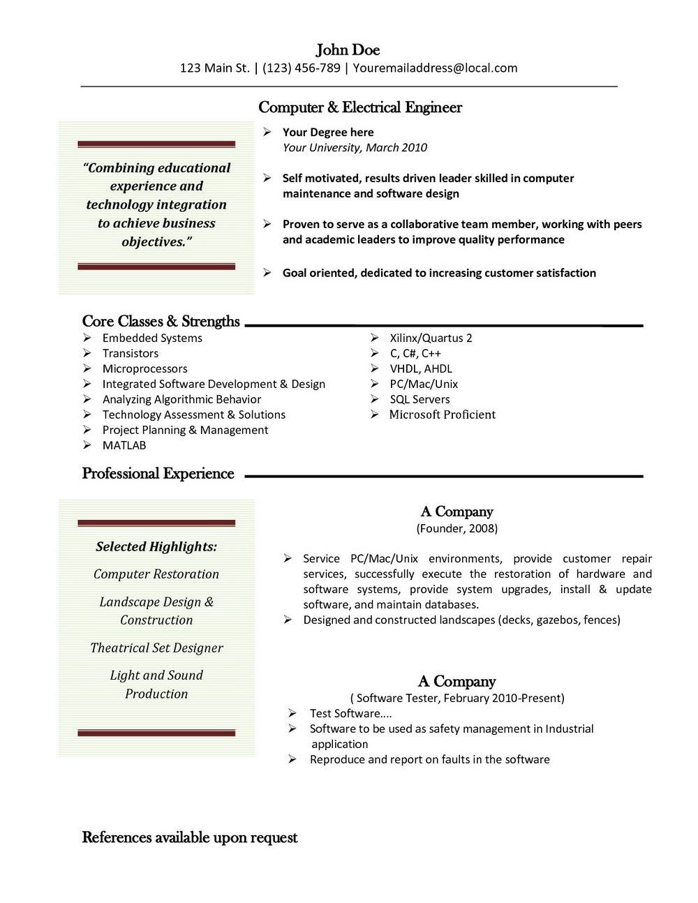 Free Resume Templates Mac Word