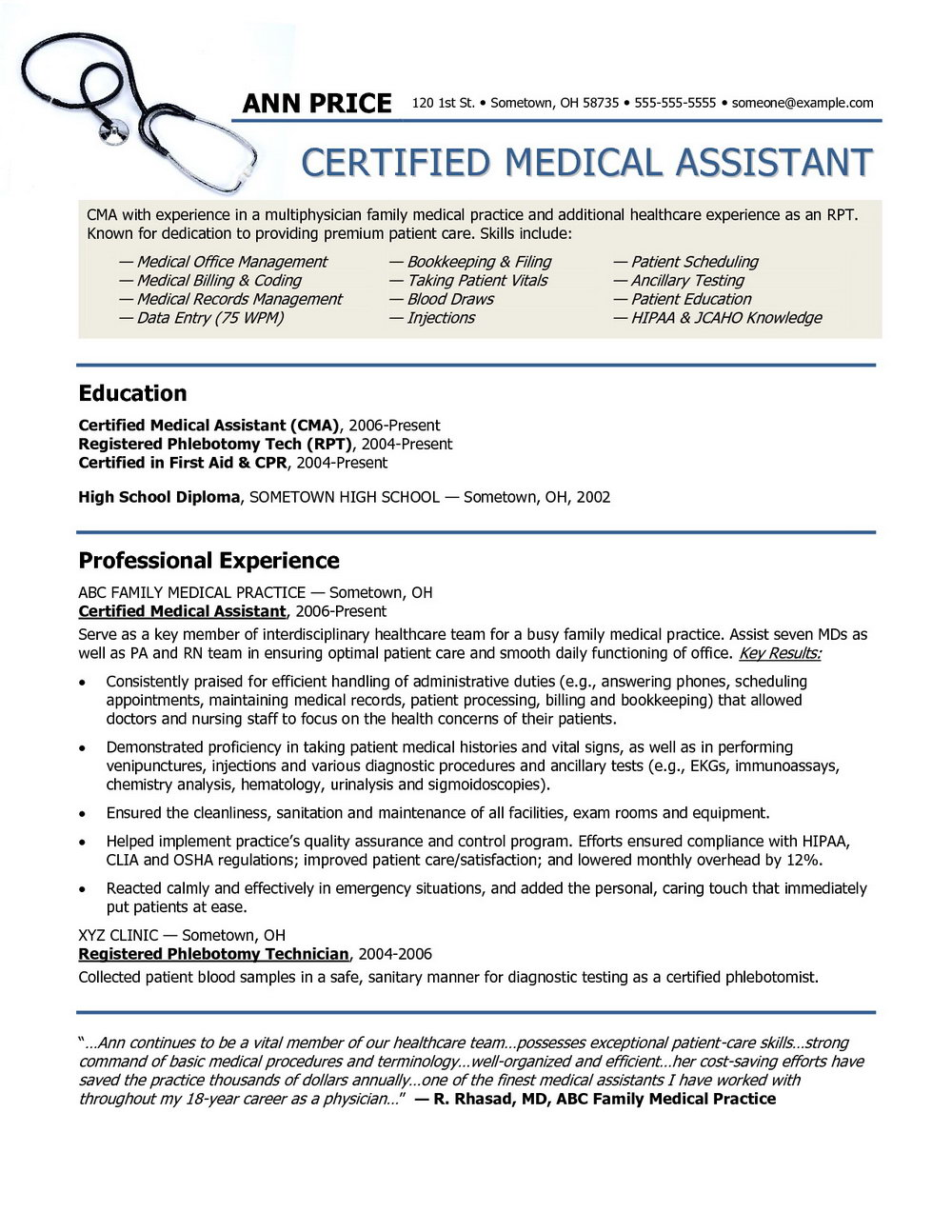 Free Resume Templates Medical Assistant