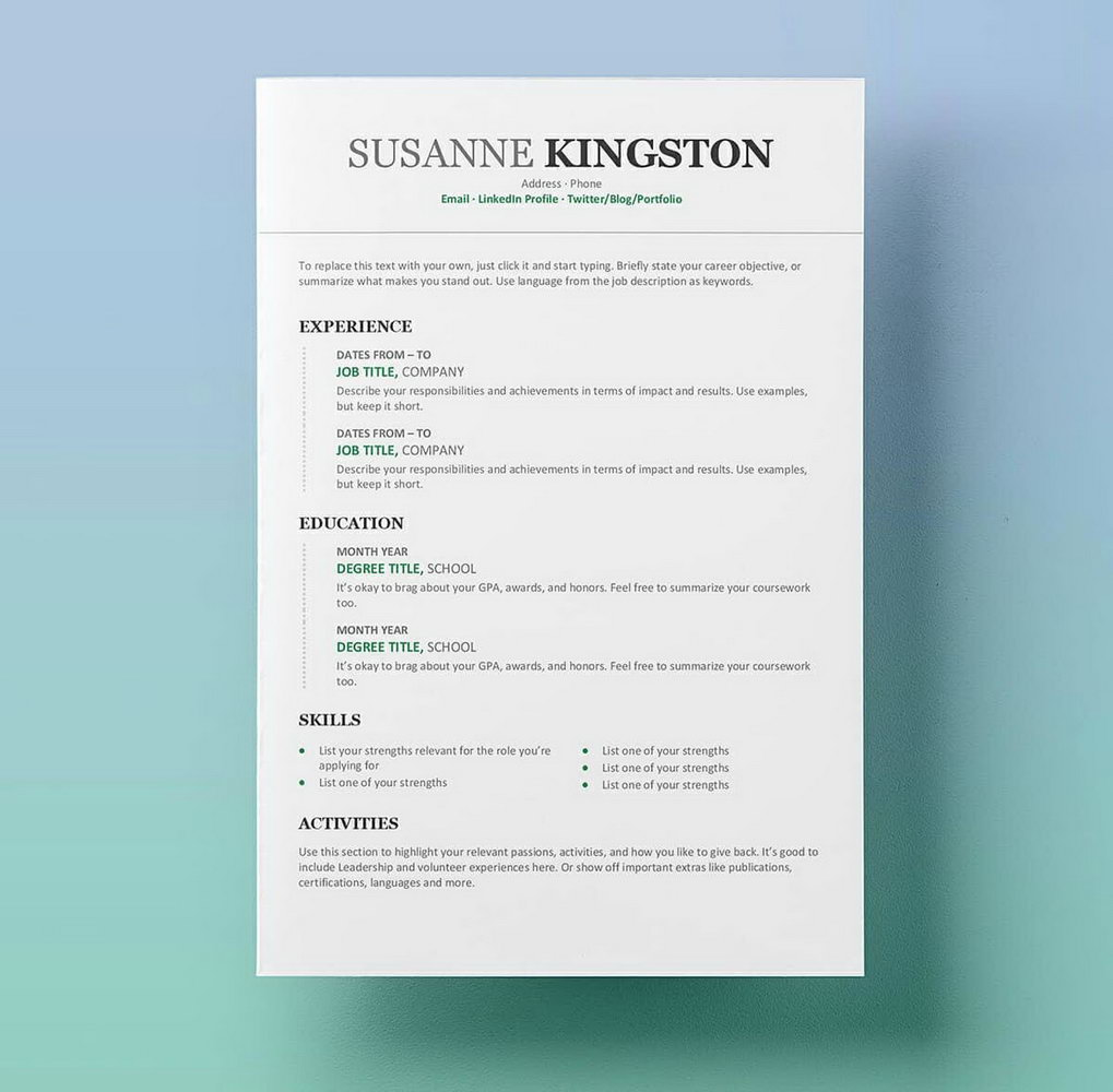 Free Resume Templates Microsoft Word 2017