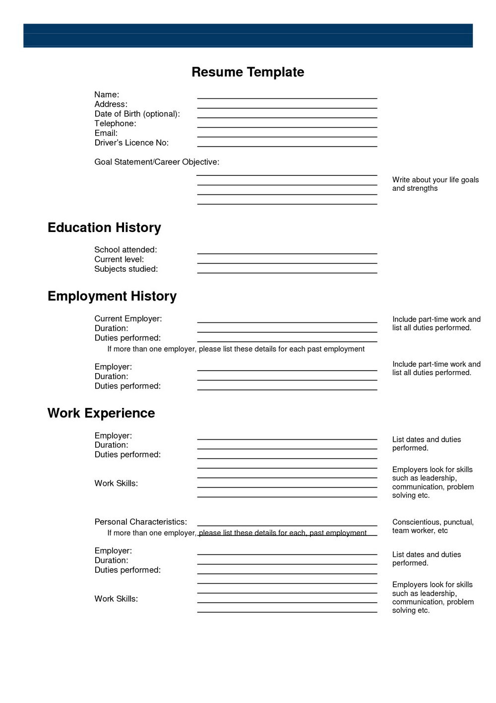 Free Resume Templates Print Out