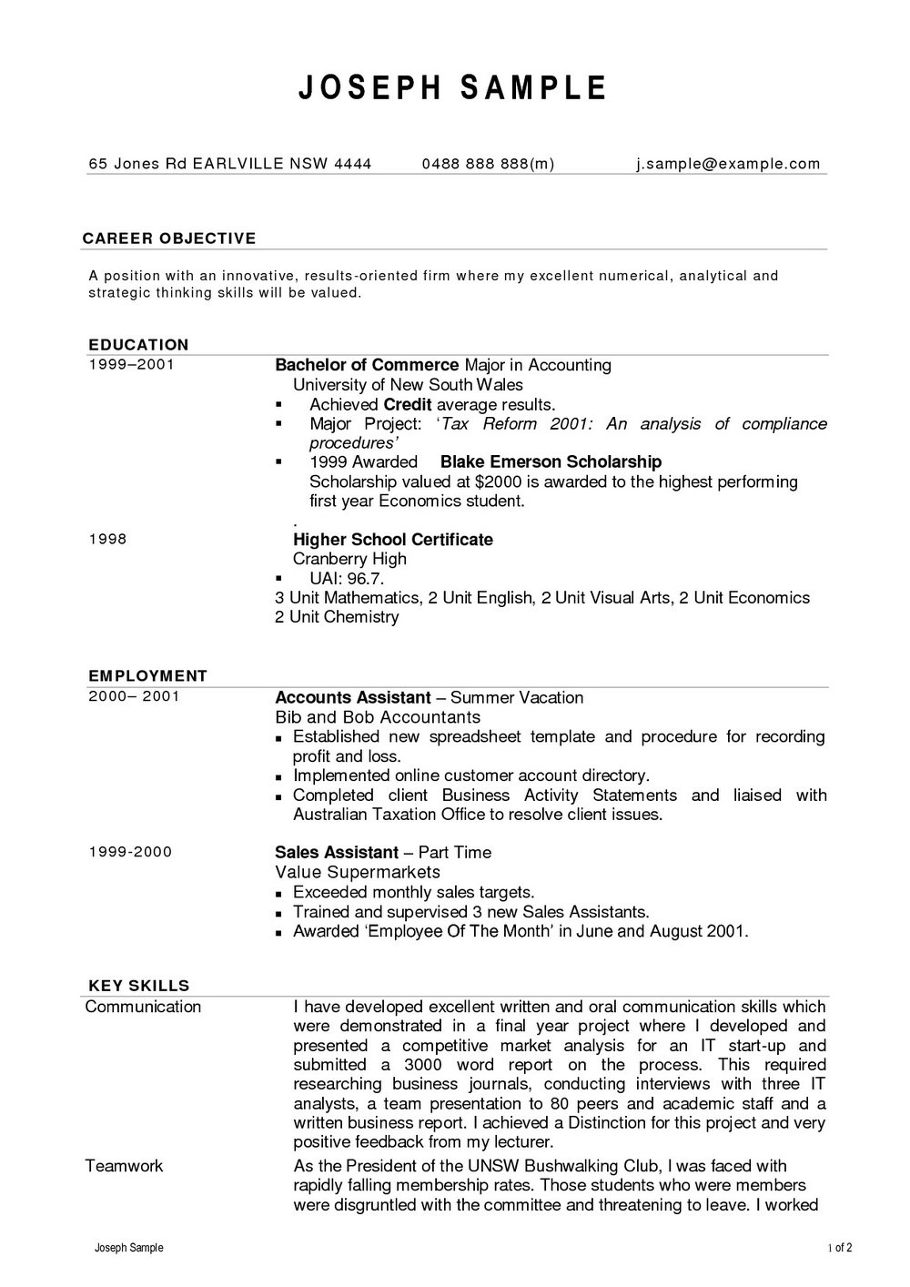 Free Resume Writing Services