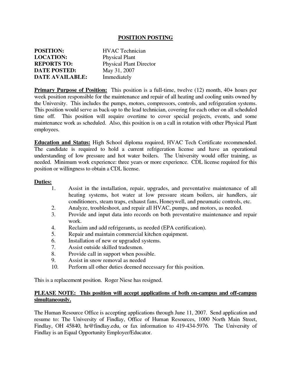 Hvac Service Technician Resume Examples