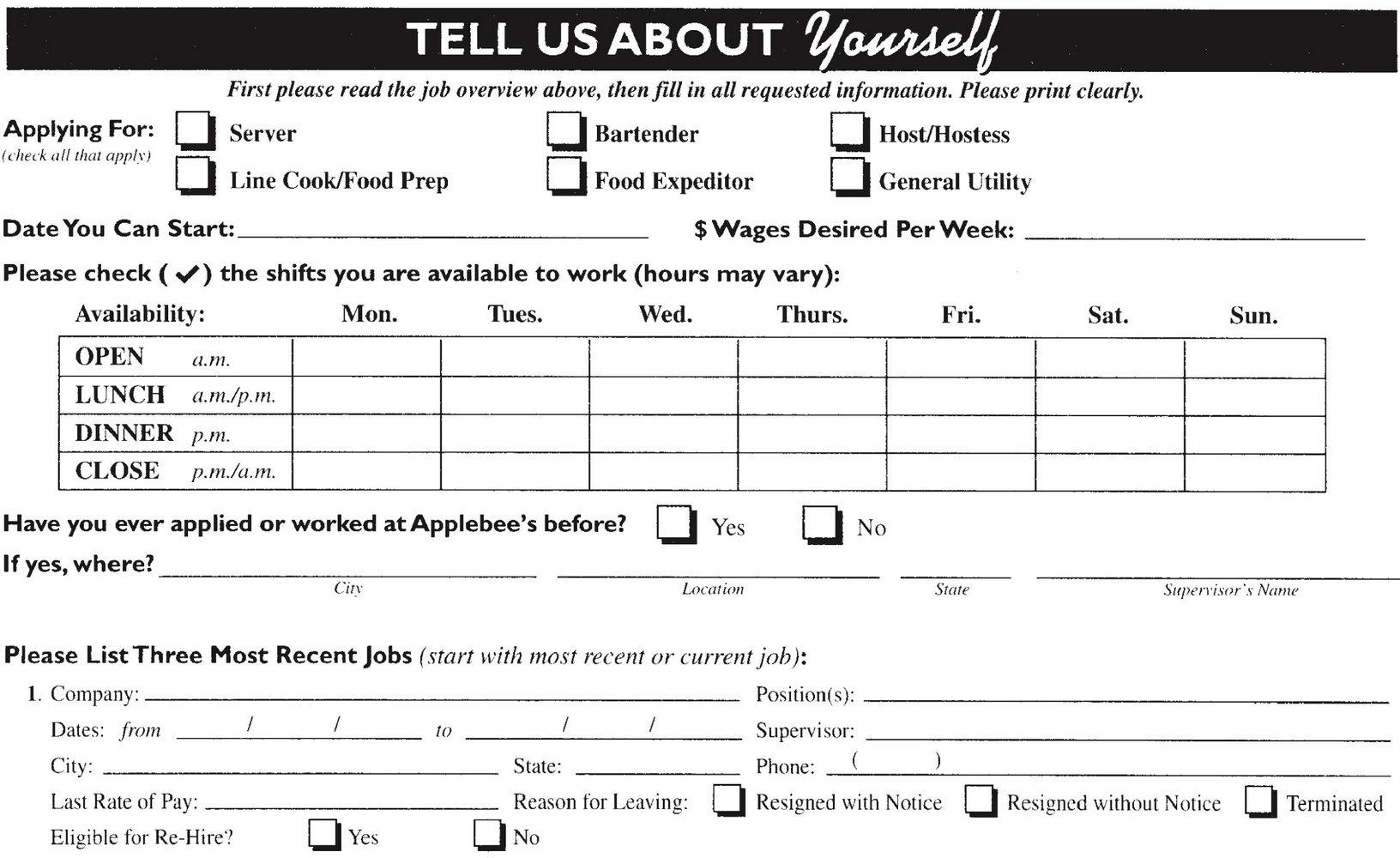 Kentucky Fried Chicken Job Application Pdf