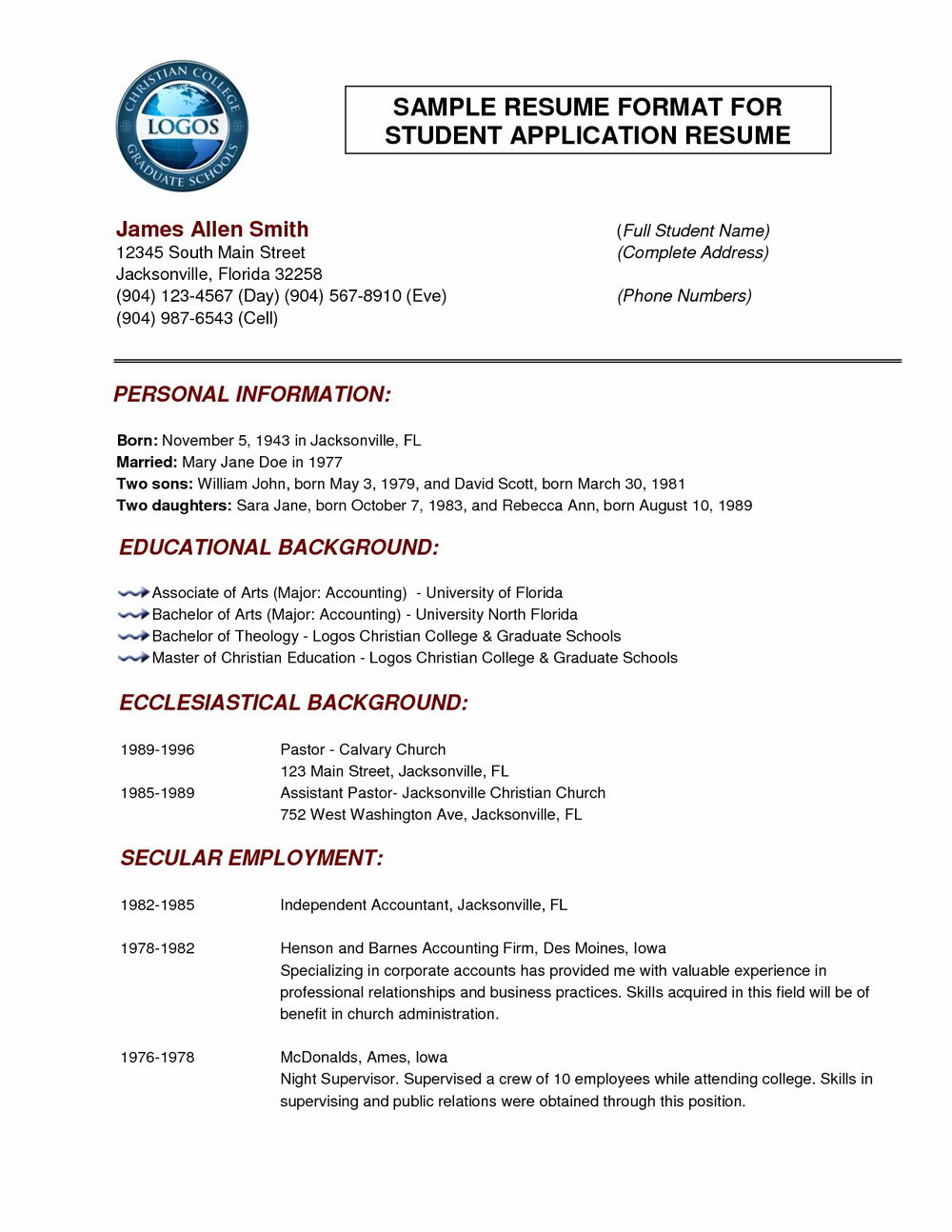 Latest Resume Format Word File Download