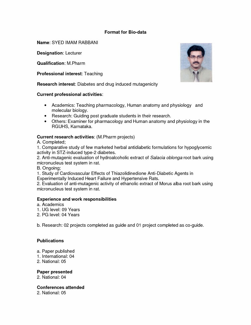 Marriage Resume Format Word File Download