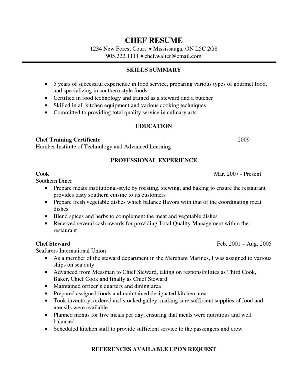 Pastry Chef Cv Template Mbm Legal