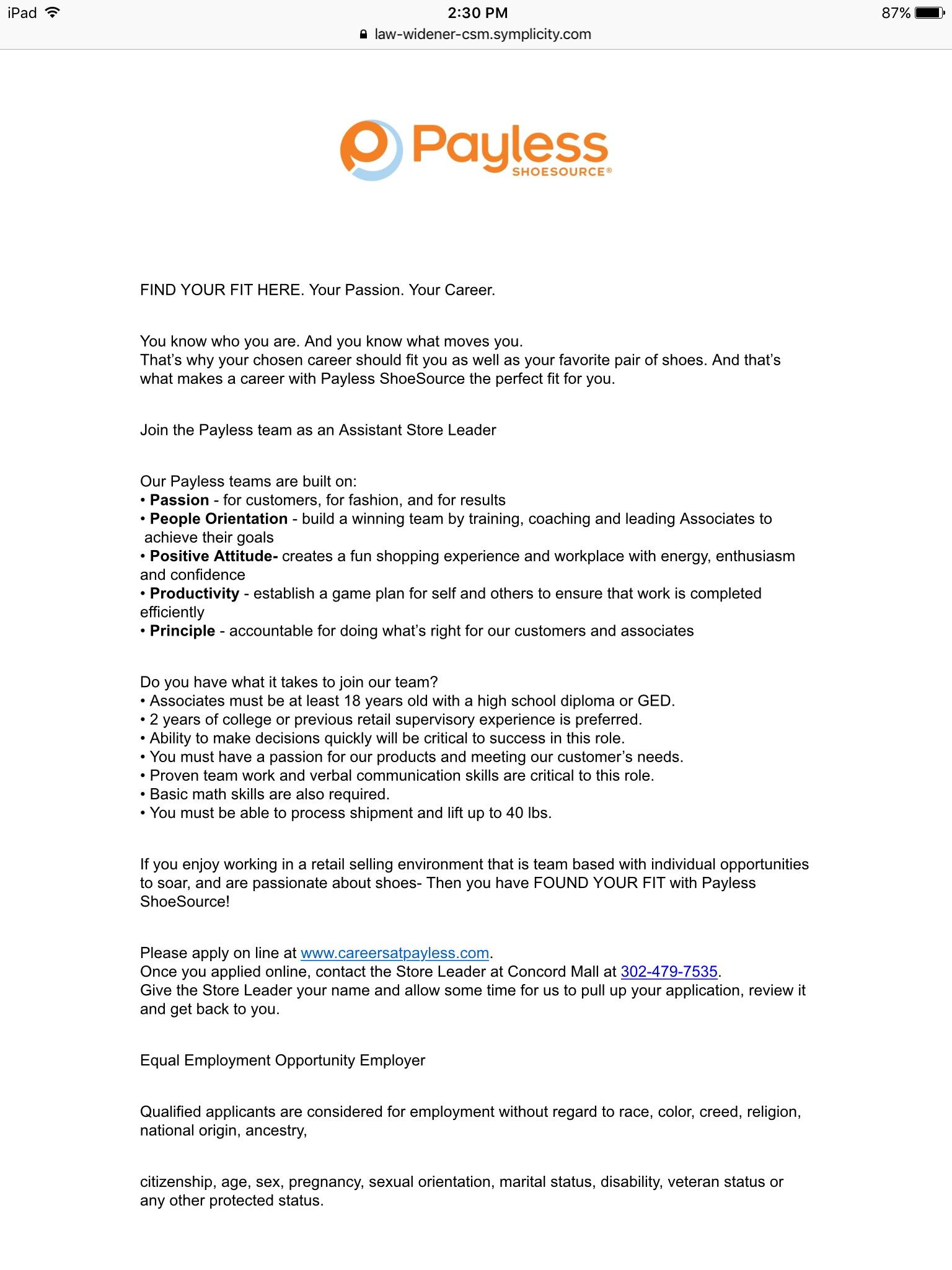 Payless Shoesource Job Application Pdf