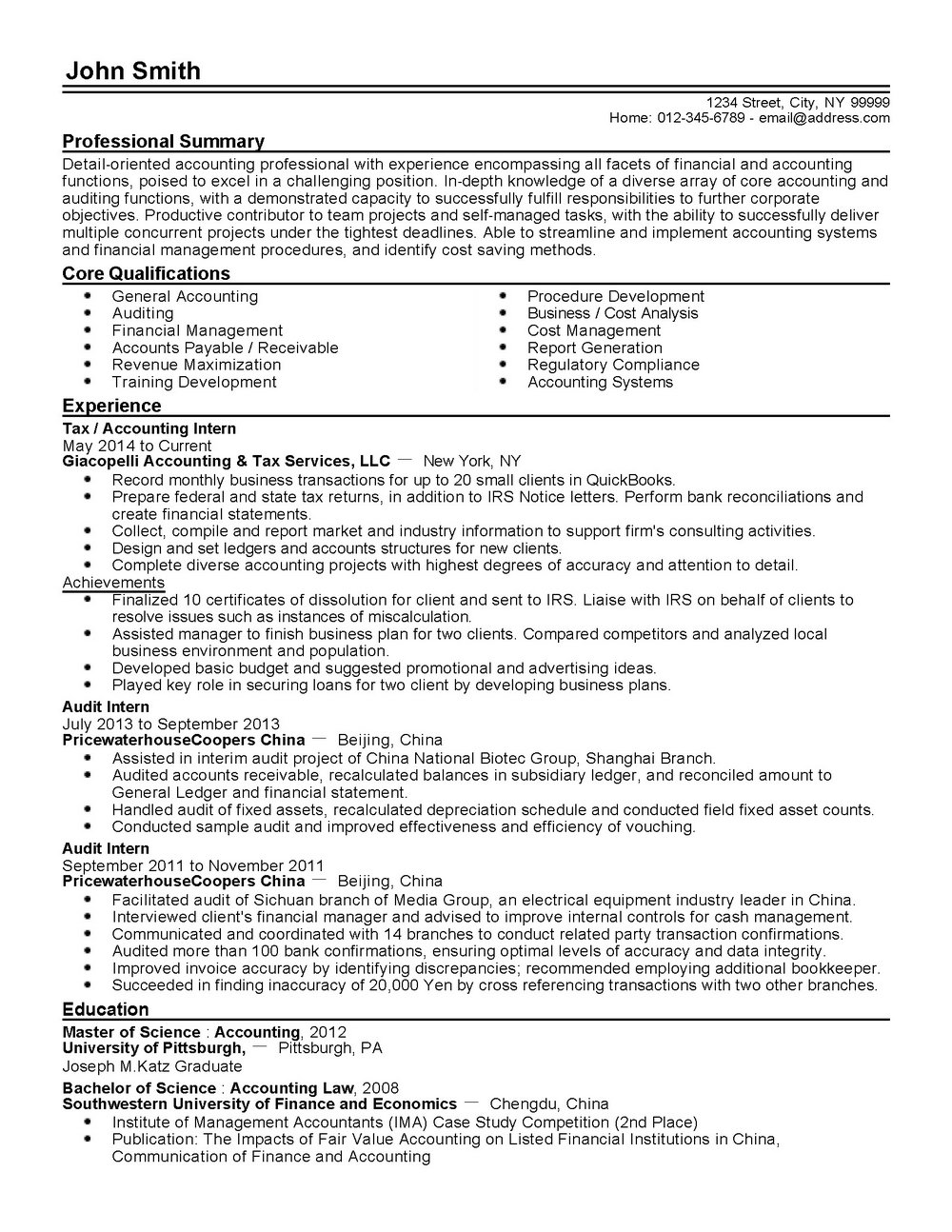 Professional Accounting Resume Templates
